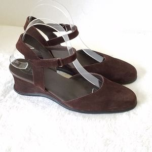 Arche Chocolate Brown Suede Wedges